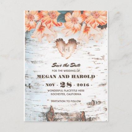 Birch Heart Rustic Country Fall Save the Date Announcements Cards