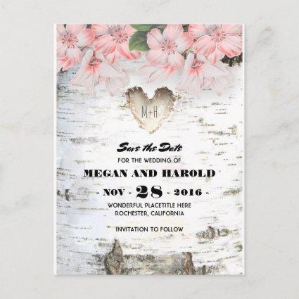 Birch Heart Rustic Country Save the Date Announcements Cards