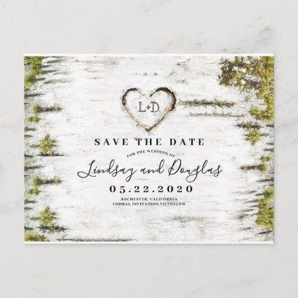 Birch Tree Heart Rustic Save the Date Announcement