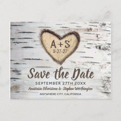Birch Tree Rustic Country Wedding Save the Date Announcement