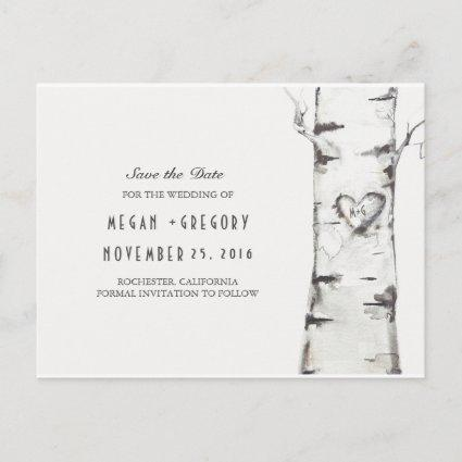 birch tree rustic wood heart save the date announcement