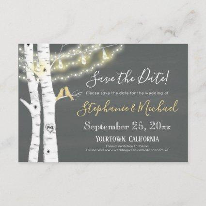 Birch Trees, Birds, Lights and Chalkboard Save The Date
