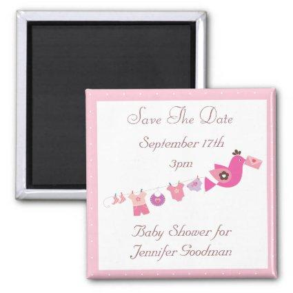 Bird & Clothesline Pink Save The Date Baby Shower Magnet