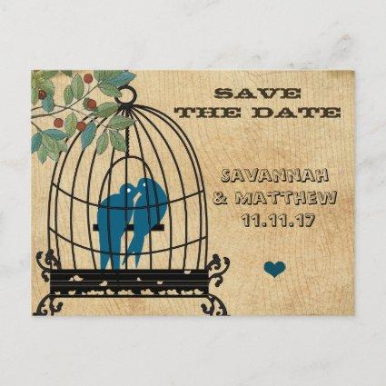 Birdcage Save the Date on Wood Grain