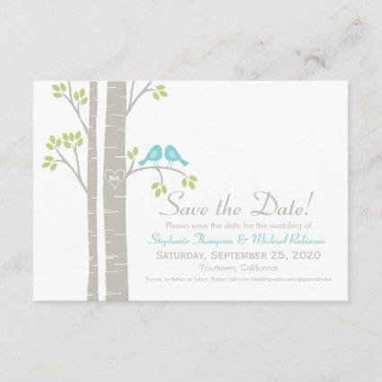 Birds in Birch Trees Save the Date