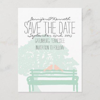 Birds on a Park Bench Wedding Save the Date Announcements Cards