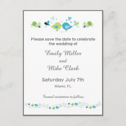 Birds Weddings Save The Date Card Floral