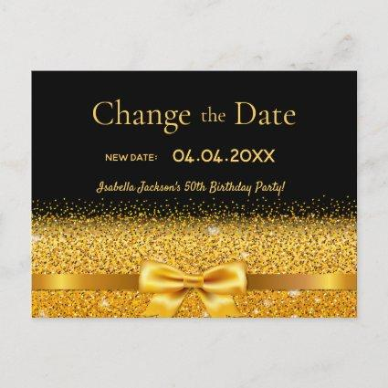 Birthday party black gold glitter change the date
