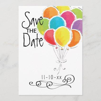 Birthday Party Colorful Balloons Save the Date