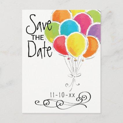 Birthday Party Colorful Balloons Save the Date Announcement