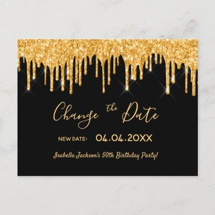 Birthday party gold glitter black change the date