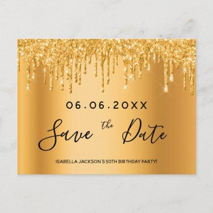 Birthday party gold glitter text