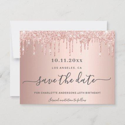 Birthday party rose gold glitter save the date