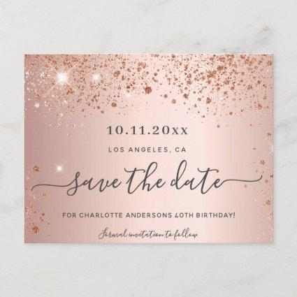 Birthday party rose gold glitter save the date announcement
