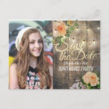 Birthday Party Save The Date Flowers Wood Lights Invitation