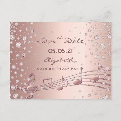 Birthday Party Save the Date rose gold glam
