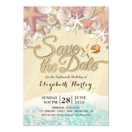Birthday Party Save The Date Summer Beach Starfish Magnetic Invitation