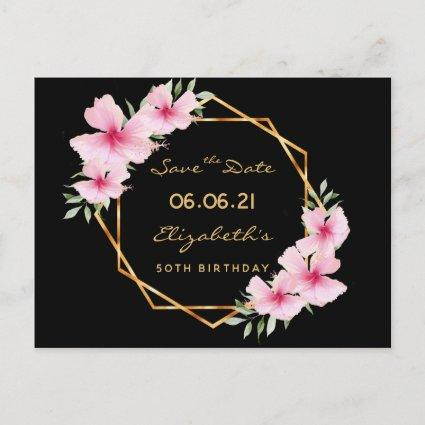 Birthday party Save the Date tropical black gold