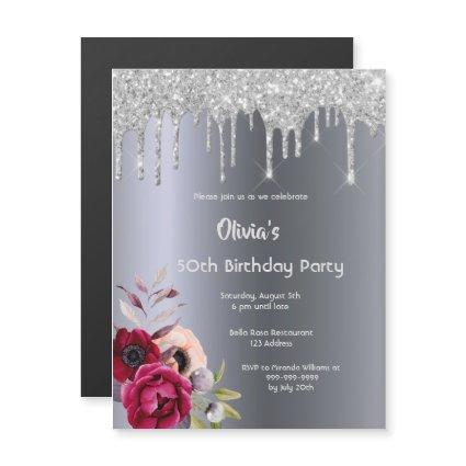 Birthday party silver glitter drip floral magnetic invitation