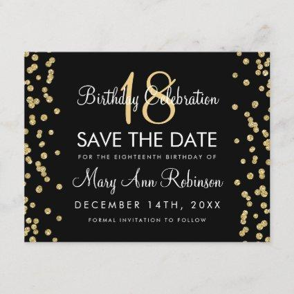 Birthday Save Date Gold Glitter Confetti Black Save The Date