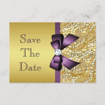 Birthday Save The Date Gold Faux Sequin Purple Bow