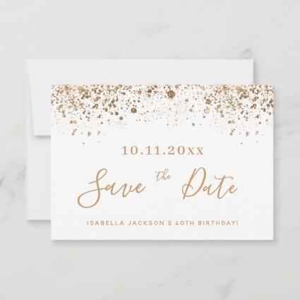 Birthday white gold glitter dust save the date announcement