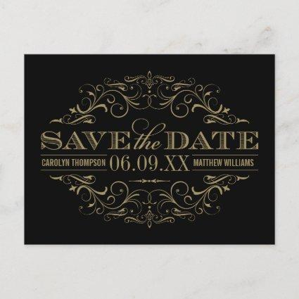 Black and Antique Flourish | Wedding Save the Date Announcement