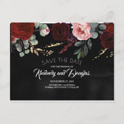 Black and Burgundy Red Floral Save the Date Announcement