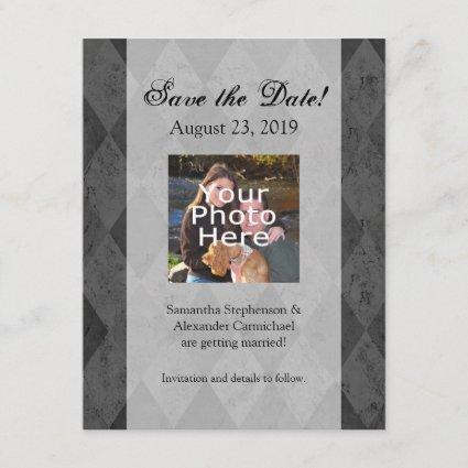 Black and Charcoal Harlequin with Script Save The Date