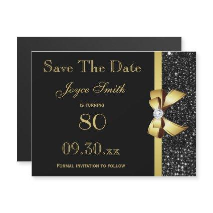 Black and Gold Any Age Birthday Save The Date Magnetic Invitation