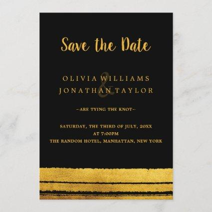 Black and Gold Brush Stroke Save The Date Card