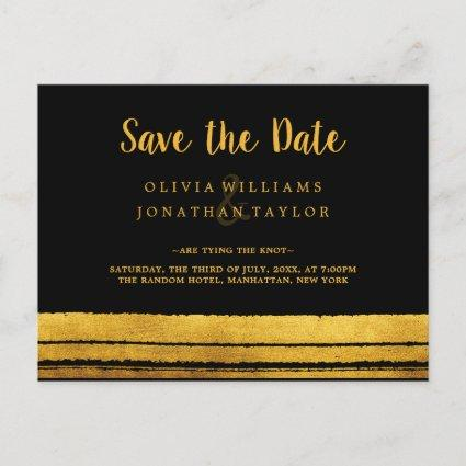 Black and Gold Brush Stroke Save The Date Postard Announcements Cards