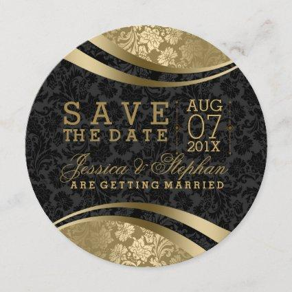 Black And Gold Damasks Swirls Save The Date