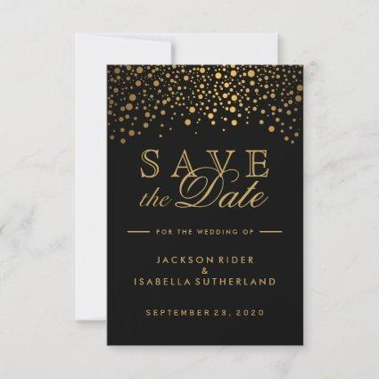 Black and Gold Faux Foil Confetti Dots Save The Date