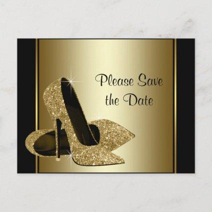 Black and Gold High Heel Shoe Save The Date Announcements Cards