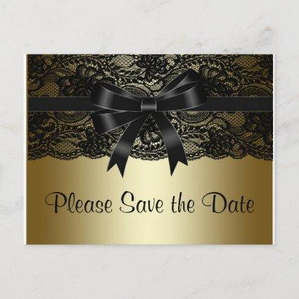 Black and Gold Lace Save The Date Announcement