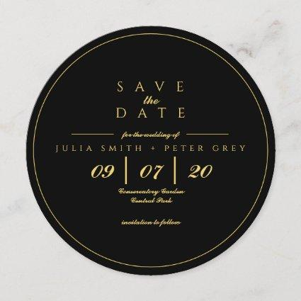 Black and Gold round save the date invitation