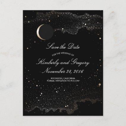 Black and Gold Starry Night Moon Save the Date Announcement