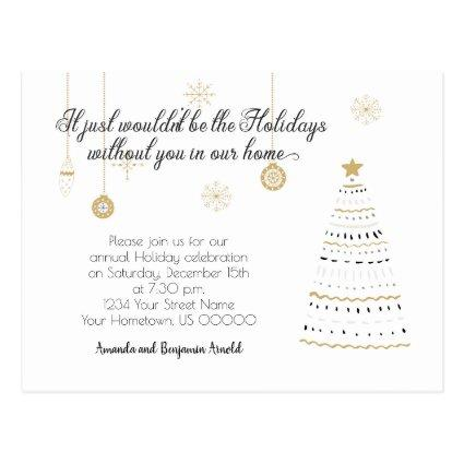 Black and Gold Stylized Holiday Party Invite