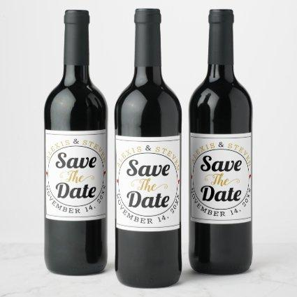 Black and gold typography red hearts Save the Date Wine Label