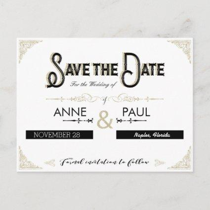 Black and gold typography Save the Date Announcement
