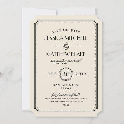 Black and Ivory Art Deco Monogram Save the Date