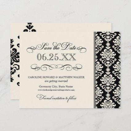 Black and Ivory Elegant Damask Save the Date Announcement