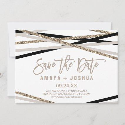 Black and Ivory Streamers Save the Date