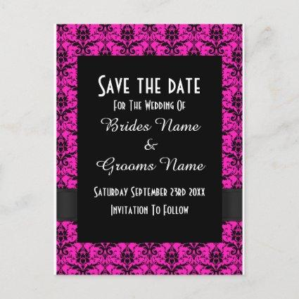Black and pink damask save the date announcement
