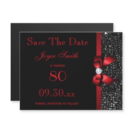 Black and Red Any Age Birthday Save The Date Magnetic Invitation