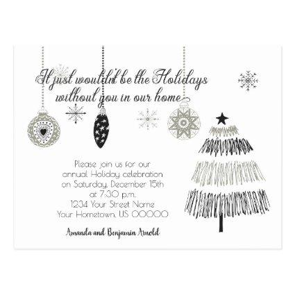Black and Silver Christmas Holiday Party Invite
