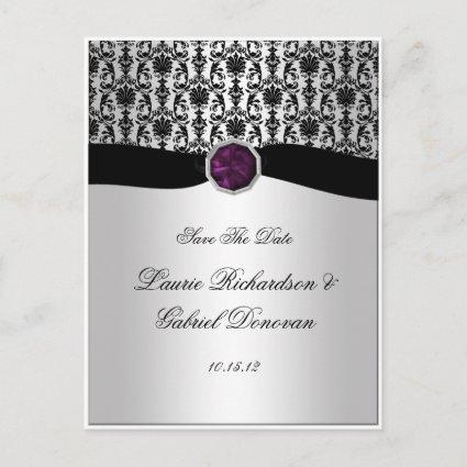 Black and Silver Purple Jewel Save The Date Announcement
