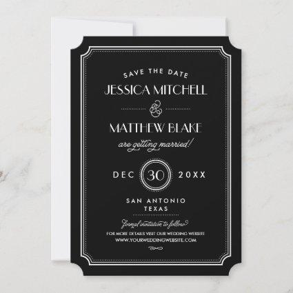 Black and White Art Deco Monogram Save the Date