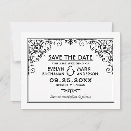 Black and White Art Deco Style | Wedding Save The Date